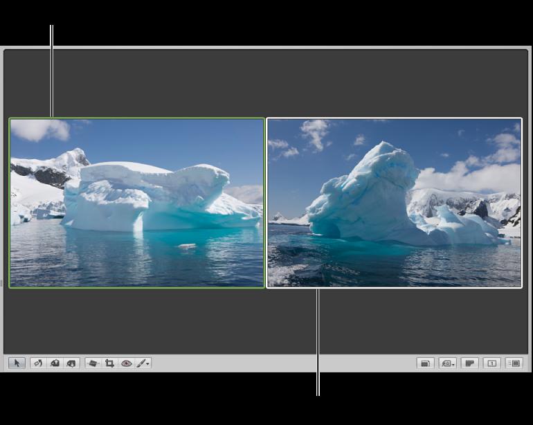 図。 イメージを比較するように設定されたビューア。比較イメージが緑色の枠線で囲まれ、ほかのイメージが白い枠線で囲まれています。
