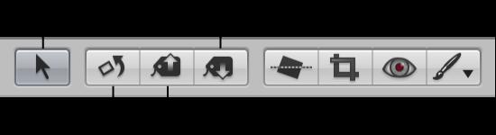 図。 ツールストリップの「選択」ツールと調整ツール。