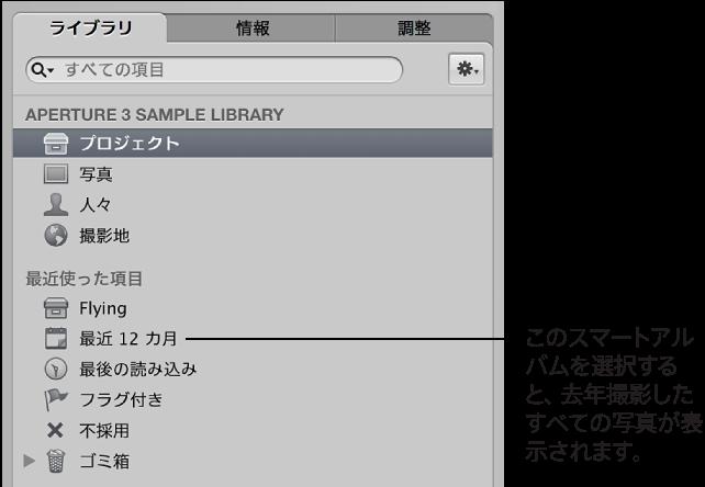 図。 ライブラリにスマートアルバムが表示されている「ライブラリ」インスペクタ。