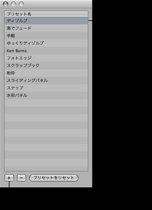 図。 「スライドショー」ダイアログの「プリセット名」リストの領域にある、選択されたスライドショープリセットと「追加」ボタン。