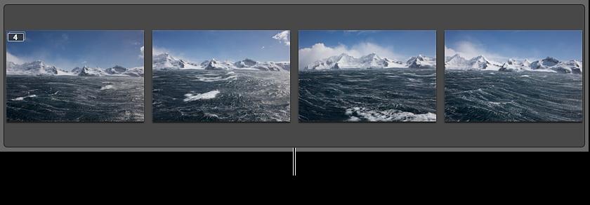 図。 短時間に連続して撮影した一連のイメージが含まれているスタック。