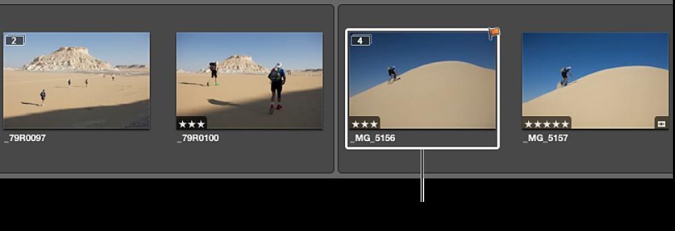 図。 前のスタックから作成された、2 つの展開されたスタック。選択したイメージが新しいスタックのピックの位置にあります。