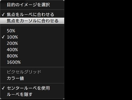 図。 「焦点をカーソルに合わせる」コマンドが表示されている「ルーペ」ポップアップメニュー。