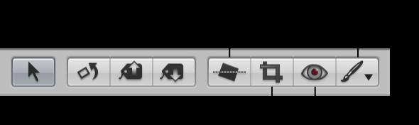 図。 ツールストリップの調整ツールと「クイックブラシ」ポップアップメニュー。