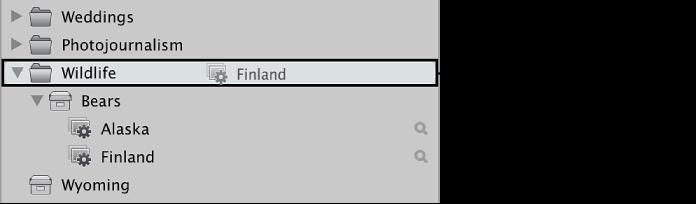 図。 「ライブラリ」インスペクタでアルバムをフォルダ内にドラッグしています。