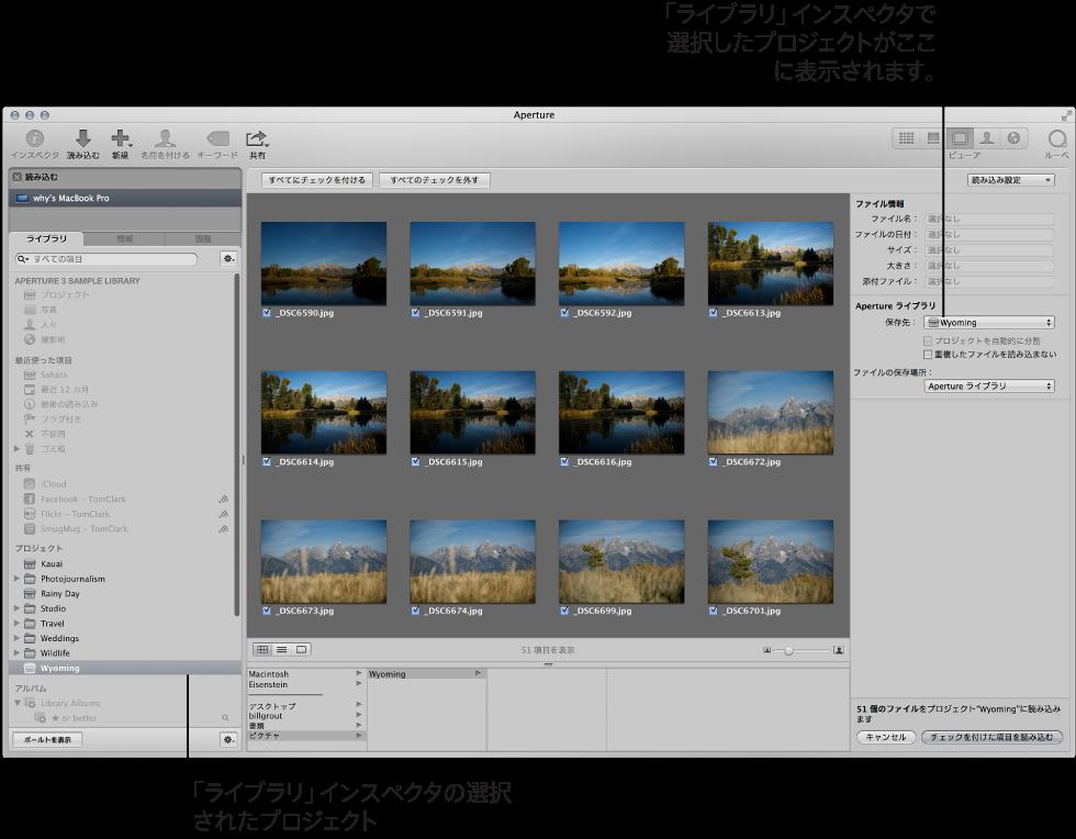 図。 イメージを読み込むために「ライブラリ」インスペクタで選択されているプロジェクト。