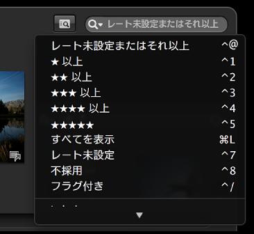 図。 フルスクリーン表示の検索フィールドポップアップメニュー。
