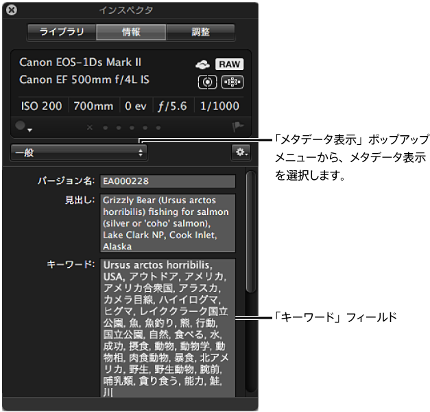 図。 「メタデータ表示」ポップアップメニューのオプションが表示されている「インスペクタ HUD」の「メタデータ」パネル。