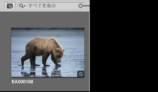 図。 検索フィールドポップアップメニューの右側にある「リセット」ボタン。