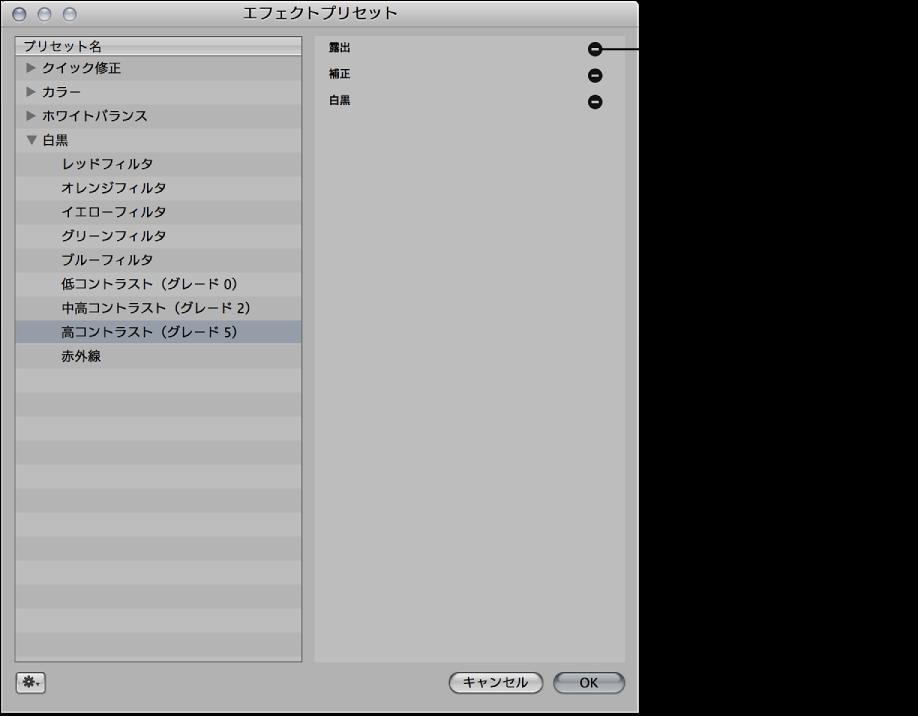 図。 エフェクトの調整の横に選択したエフェクトと「削除」ボタンが表示されている「エフェクトプリセット」ダイアログ。