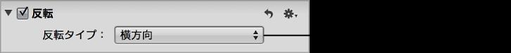 図。 「調整」インスペクタの「反転」領域の「反転タイプ」ポップアップメニュー。