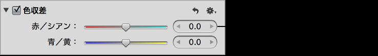図。 「調整」インスペクタの「色収差」領域の「赤/シアン」コントロール。