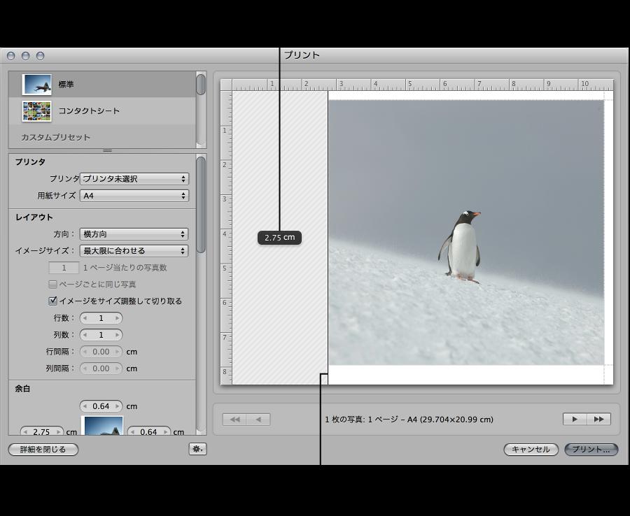 図。 「プリント」ダイアログのプレビュー領域で、余白をドラッグしてイメージのサイズを変更しているイメージ。
