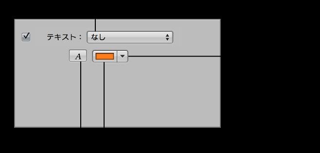 図。 スライドショーエディタの「選択したスライド」パネルにあるテキストのコントロール。
