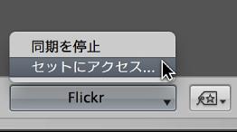図。 ツールストリップの「Flickr」ポップアップメニュー。