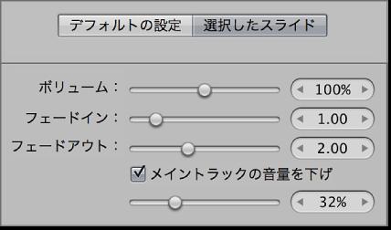 図。 スライドショーエディタの「選択したスライド」パネルにあるビデオのコントロール。