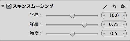 図。 「調整」インスペクタの「スキンスムージング」領域のコントロール。