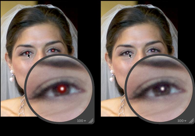 图。 图示为执行红眼调整前后。