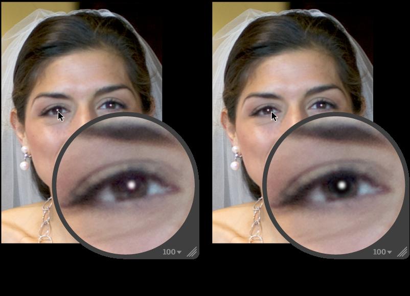 """图。 图示为在""""红眼""""目标叠层中执行灵敏度调整前后。"""