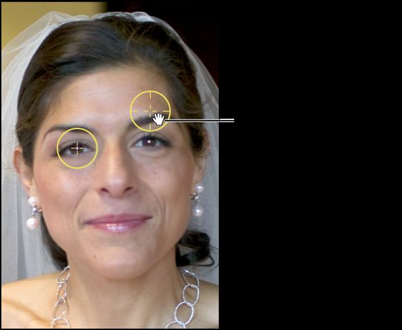 """图。 图示为""""红眼""""目标叠层上出现的手形图标,指示您可以移动该叠层。"""