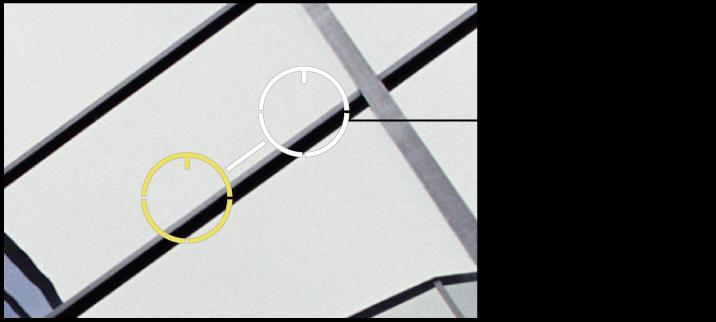图。 图示为白色的源目标叠层,放到从中克隆像素的图像部分上。