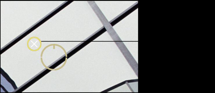"""图。 图示为""""修复和修补""""目标叠层上出现的白色 X,指示您可以删除该叠层。"""
