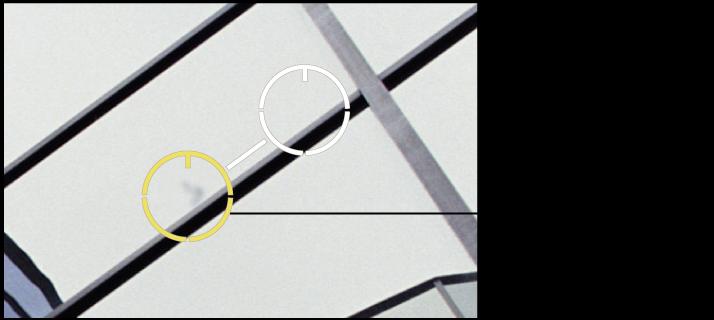 """图。 图示为""""修复和修补""""目标叠层中像素的柔和度调整。"""