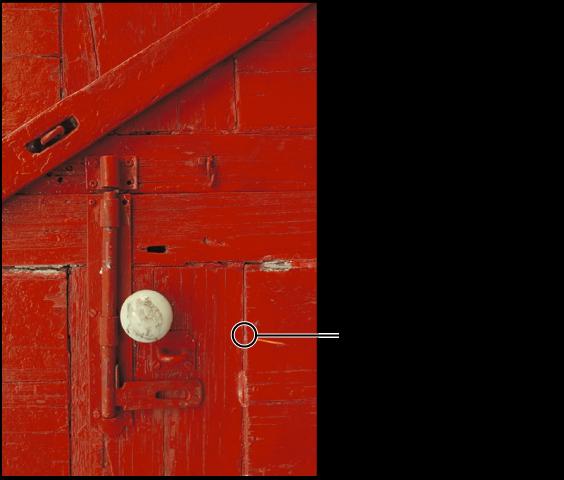 图。 图示的圆形叠层指示修复笔刷的位置。