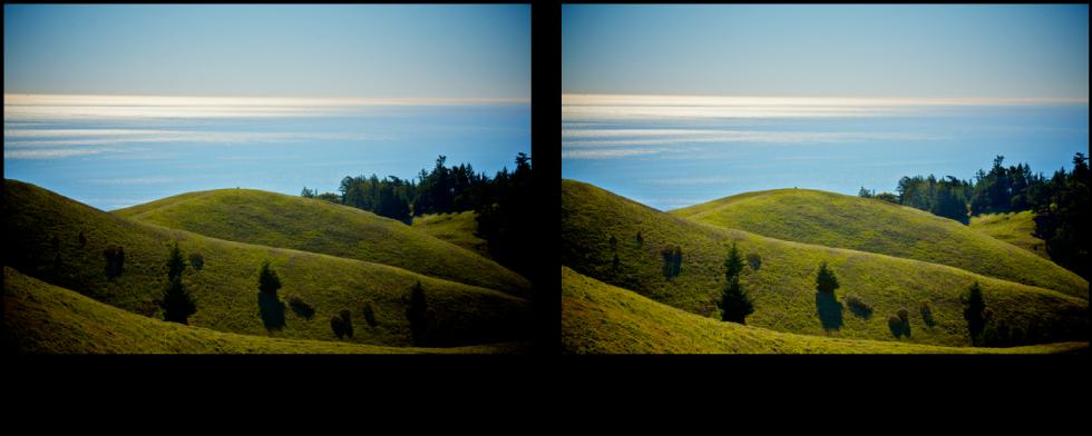 图。 减淡快速笔刷调整前后的图像。