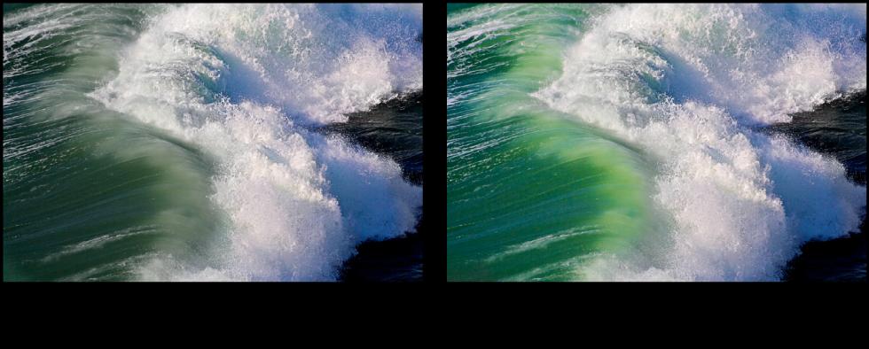 图。 鲜明度快速笔刷调整前后的图像。