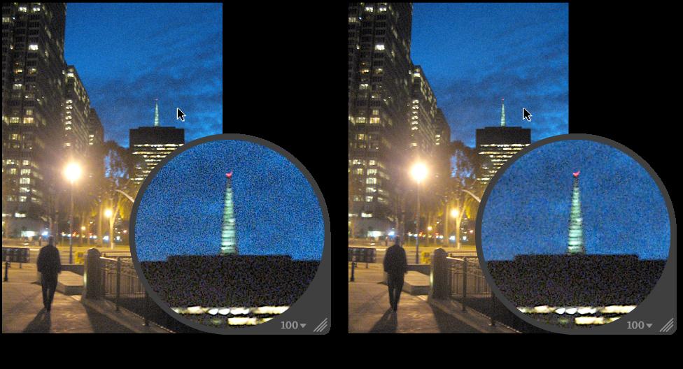 图。 噪点消除快速笔刷调整前后的图像。
