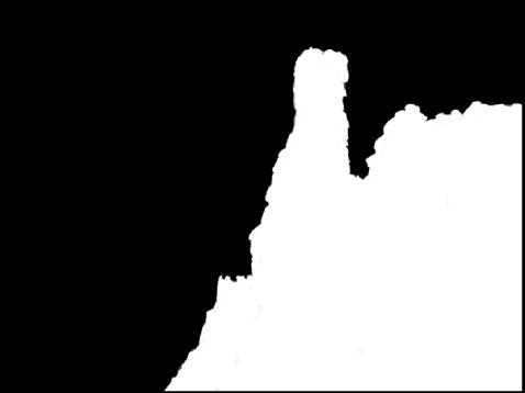 图。 图示为显示在调整被刷入的图像区域上方的白色叠层,图像的剩余部分显示为纯黑色。