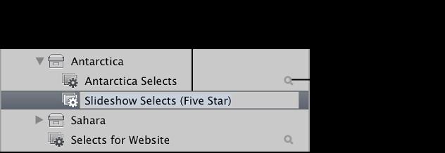 """图。 """"资料库""""检查器中的新智能相簿。"""