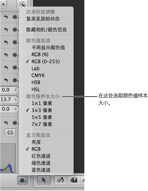 图。 调整操作弹出式菜单显示颜色值样本大小选项。