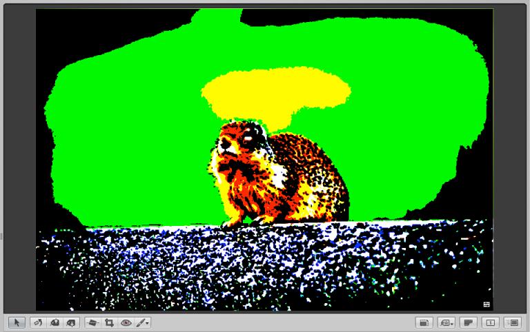 图。 检视器显示打开了颜色截断叠层的图像。