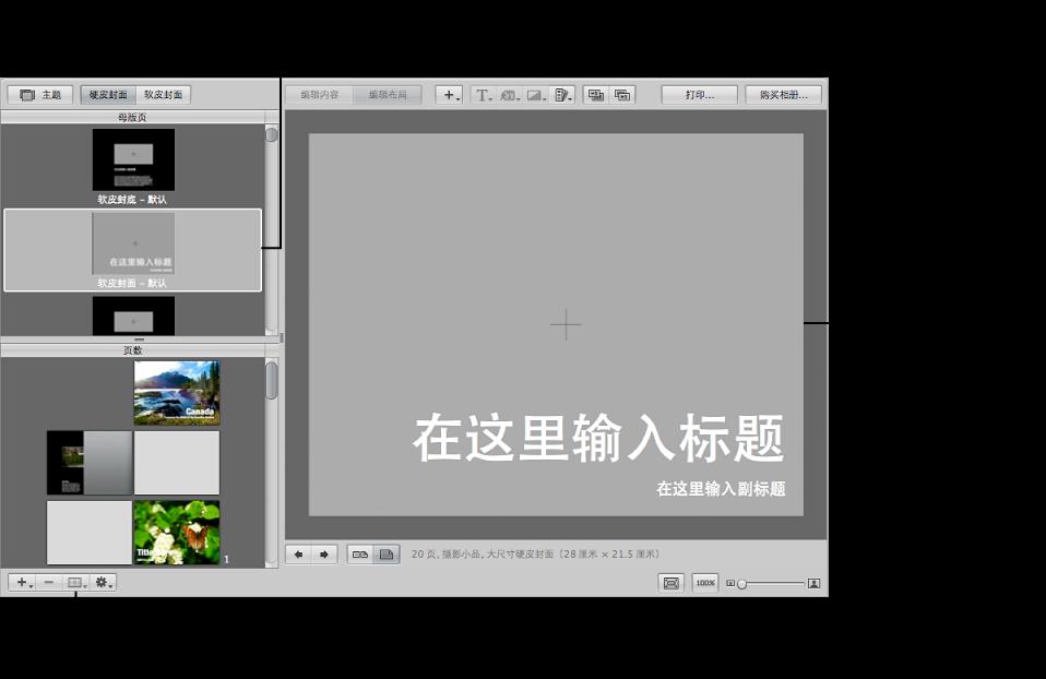 """图。 """"母版页""""面板中已选定的母版页,及相册布局编辑器显示的母版页面的放大视图。"""