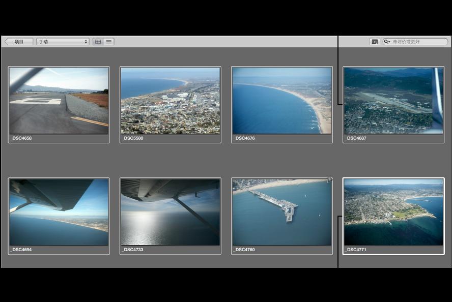 图。 浏览器显示首选内容具有粗白色边框,其他所选图像具有细白色边框。