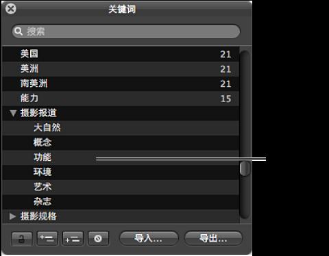 """图。 此""""关键词""""HUD 显示关键词列表和关键词群组。"""