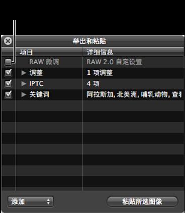 """图。 此""""举出和粘贴""""HUD 显示""""RAW 微调""""复选框未选中。"""