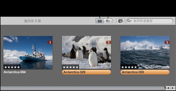 """图。 看片台中的""""显示所有图像""""按钮和""""显示未被放入的图像""""按钮。"""