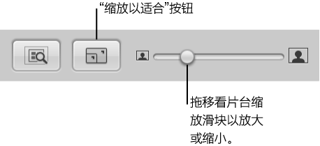 """图。 看片台中的""""缩放以适合""""按钮和""""缩放""""滑块。"""