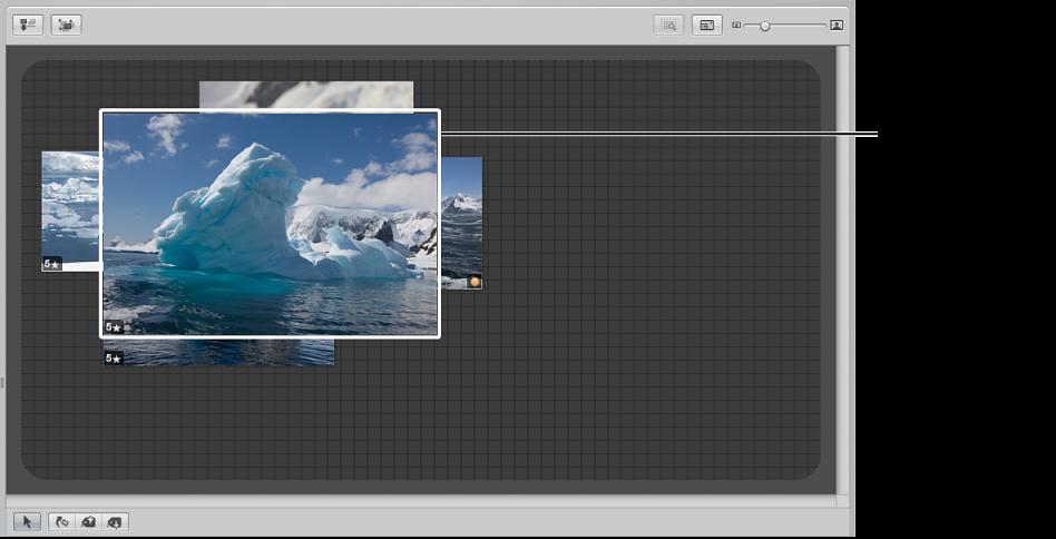 图。 看片台显示一个选定的图像遮盖了其他图像。