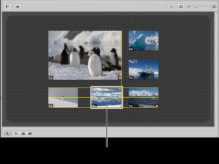 图。 看片台显示一个图像被拖移,同时黄色指引线显示以帮助您对齐图像。