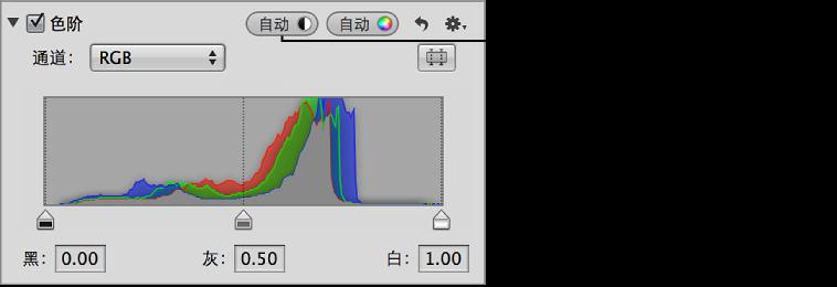 """图。 """"调整""""检查器中的""""自动色阶合并""""按钮。"""