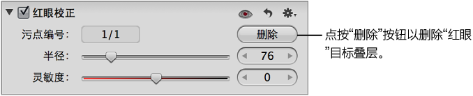 """图。 """"调整""""检查器的""""红眼校正""""区域中的""""删除""""按钮。"""