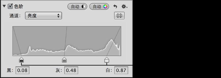 """图。 """"黑色阶""""和""""白色阶""""滑块,放在""""调整""""检查器的""""色阶""""区域中亮度直方图图形的边缘。"""