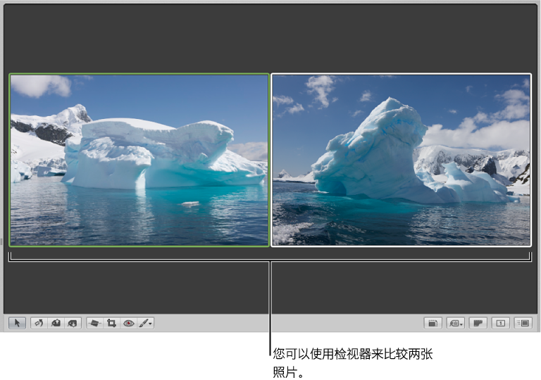 图。 检视器设定为比较两个图像。