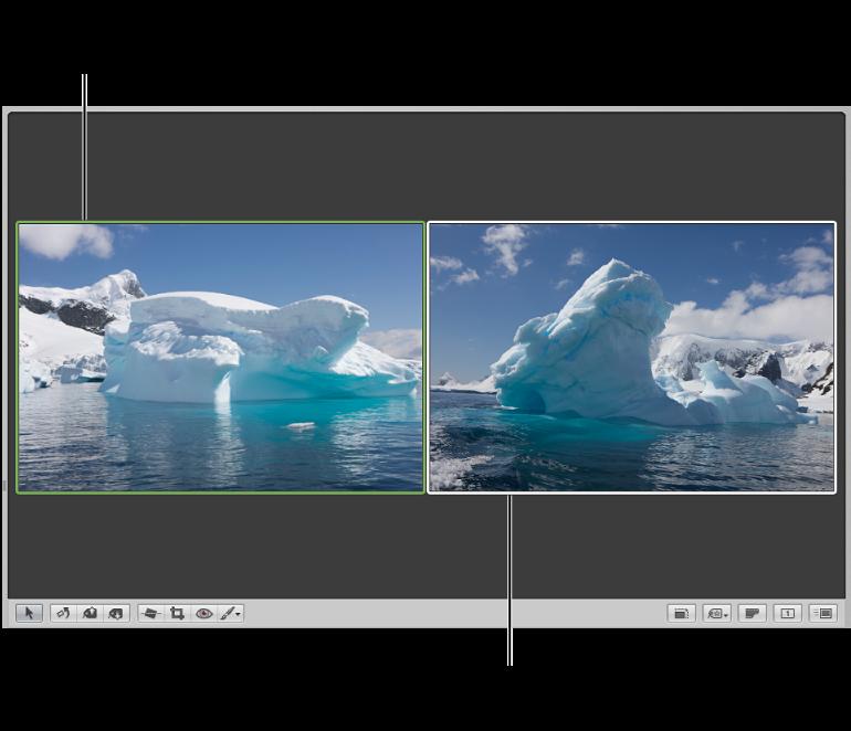 图。 检视器设定为比较图像,其中所比较图像具有绿色外框,而另一个图像具有白色外框。