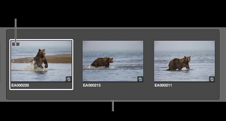 图。 展开的堆栈,带三个图像。