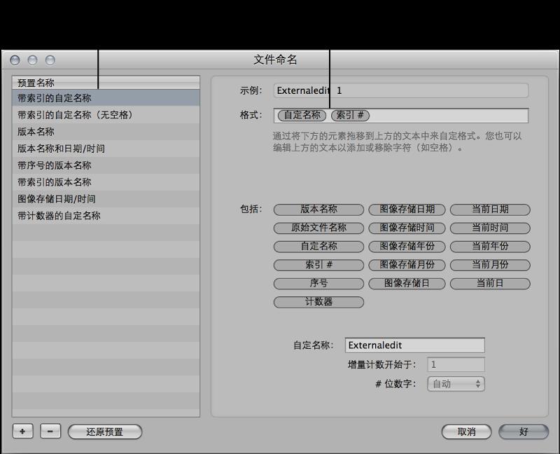 """图。 """"文件命名""""对话框中命名格式预置和格式元素的结构。"""